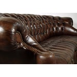 Image of Vintage Chesterfield Brown Leather Sofa