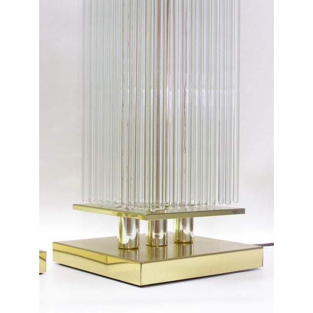 Sciolari-Style Vintage Glass Rod Lamps - A Pair - Image 7 of 8