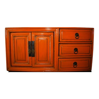Asian Orange Lacquered Tansu Chest