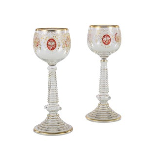 Hand Blown & Gold Etched Bohemian Glass Goblets - A Pair