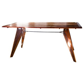 Mid-Century Natural Dining Utility Table