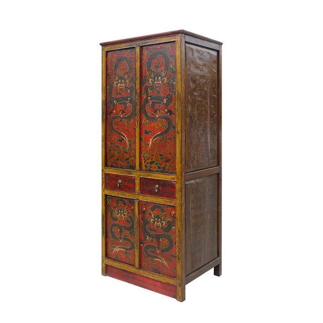 Image of Red/Brown Chinese Tibetan Dragon Patterned Cabinet