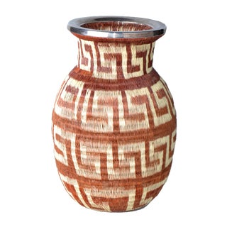 Native American hand woven Vase Silver