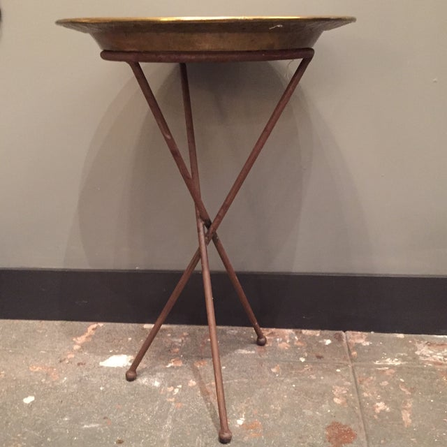 Image of Wrought Iron and Brass Tray Table