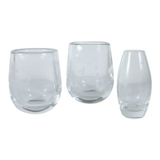Orrefors Sweden Etched Glass Vases - Set of 3