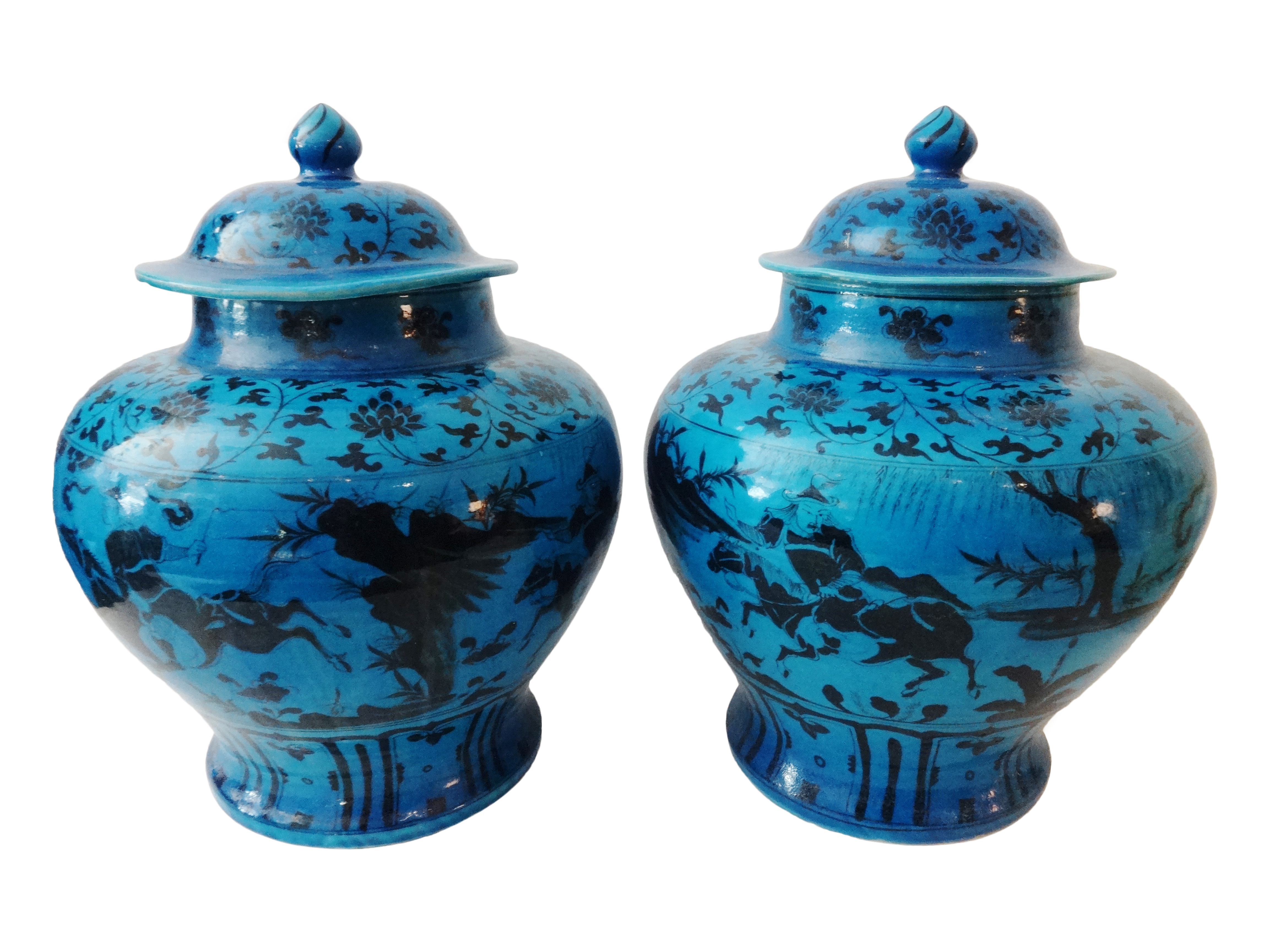 yuanstyle hunters ginger jars a pair