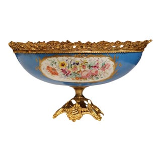 19th Century French Hand-Painted Porcelain Sevres Jardinière With Bronze Mounts