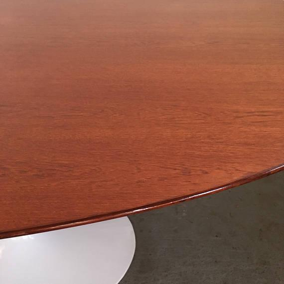 Vintage Knoll Tulip Dining Table with Teak Top - Image 6 of 7