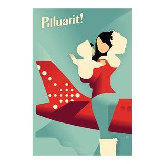 Danish Modern Travel Poster, Air Greenland Pilluarit!