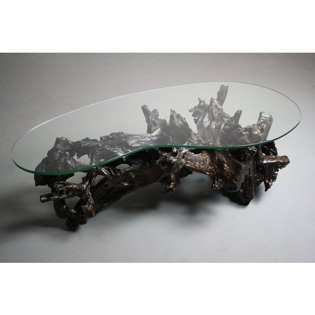 70s Driftwood Coffee Table Kidney Shaped Glass Top Chairish