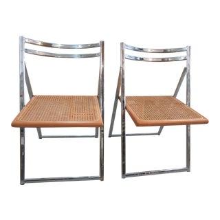 Italian Cane & Chrome Folding Chairs - A Pair
