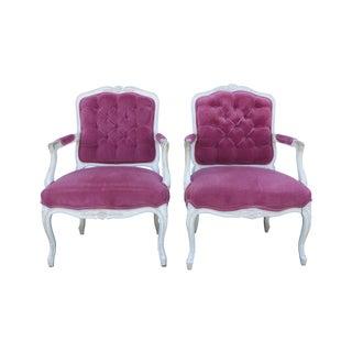 1960's Raspberry Velvet French Chairs - Pair
