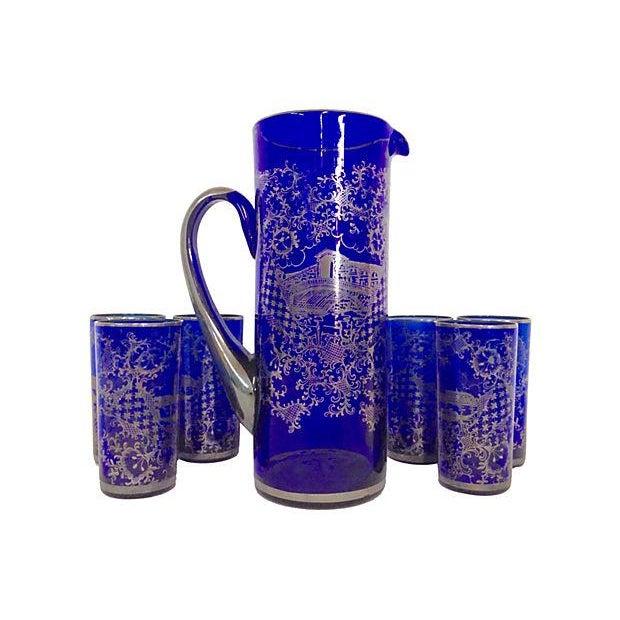 Vintage Venetian Silver on Blue Pitcher & Glasses - Image 1 of 6