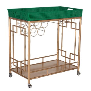 Society Social Madison Mixer Tray Top Faux Bamboo Bar Cart