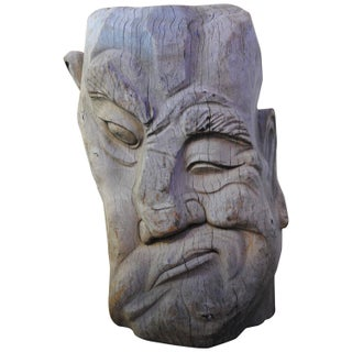 Large Hand-Carved Wood Face Sculpture