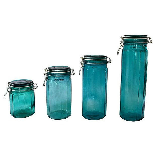 European Turquoise Glass Canisters - Set of 4 - Image 5 of 5