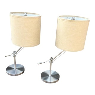 Adjustable Metal Side Table Lamps- A Pair