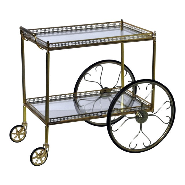 French Modern Rolling Bar Cart - Image 1 of 9
