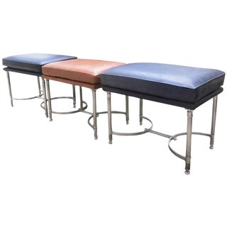 Three Chrome and Leather Upholstered Benches Attributed to Maison Jansen