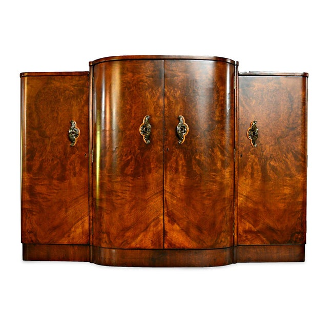 French Art Deco Burl Walnut Veneer Bar/Buffet - Image 5 of 8