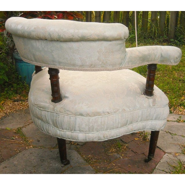 Antique Victorian Walnut Tub Chair - Image 6 of 9