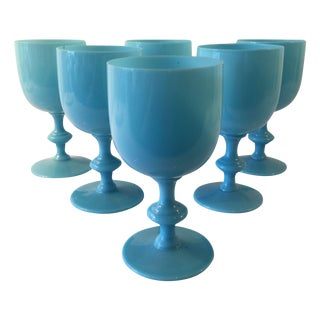 Vintage Turquoise Opaline Vine Glasses - Set Of 6