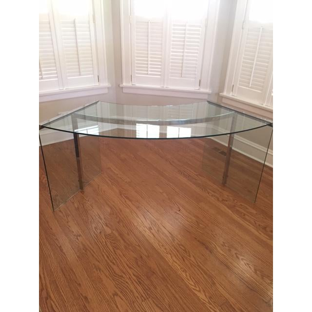 DIA Curved Glass & Chromed Steel Writing Desk - Image 5 of 10