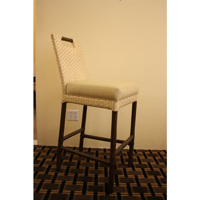 McGuire Thomas Pheasant Woven Leather Bar Stool - Image 5 of 7