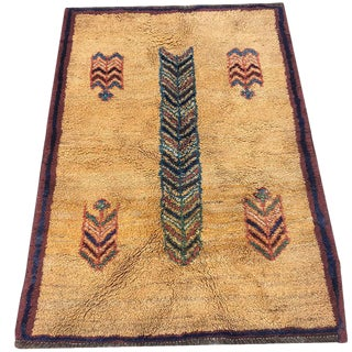 Hand-Knotted Persian Gabbeh Rug - 3′4″ × 4′8″
