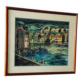 """Fishing Boats"" Framed Watercolor"