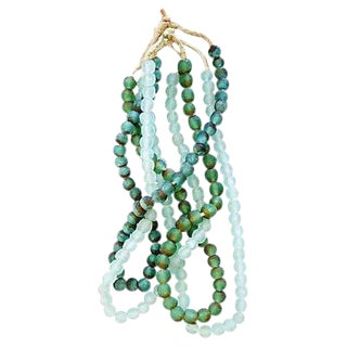 Green & Ice Sea Glass Bead Strands - Set of 4