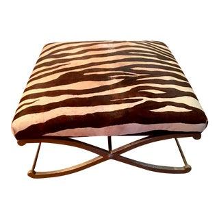 Upholstered Zebra Hide Ottoman