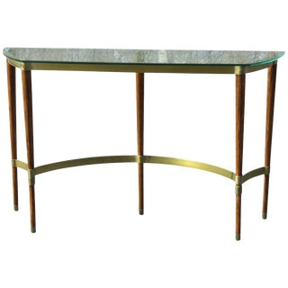 Brass & Wood Glasstop Console Table