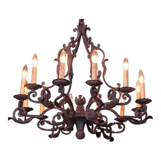 Early 20th Century French Ten-Light Iron Verdigris Chandelier
