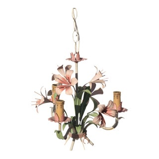 French Tole Pink Lilly Chandelier