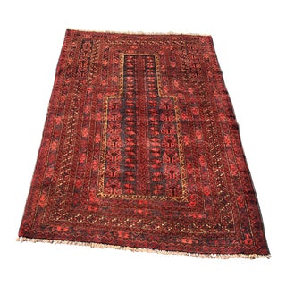 Vintage Persian Baluchi Small Area Rug- 3′2″ × 4′4