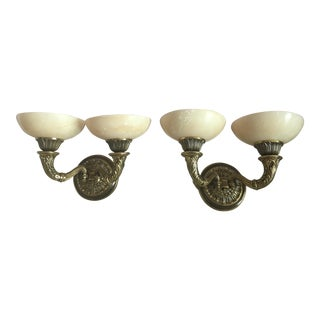 Pair of Double Arm Bronze Alabaster Sconces