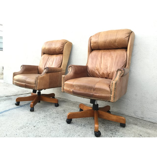 Mid-Century Italian Leather Chairs - Pair - Image 5 of 11
