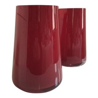Villeroy & Boch Numa Glass Deep Cherry Vases - a Pair