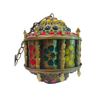 Mid-Century Brass Moroccan Jeweled Swag Light