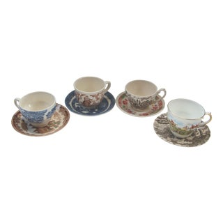 Mismatched Vintage Transfer Ware Cups and Saucers S/4