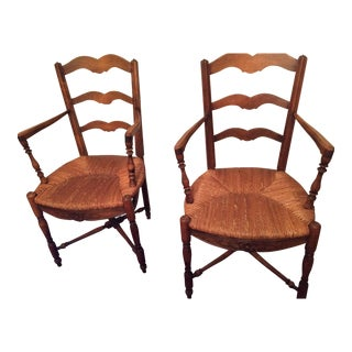 French Country Carved Armchairs - A Pair