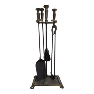 Antique Art & Crafts Iron Fireplace Tools