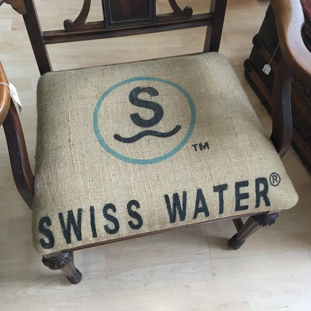 Image of Captains Chair With Burlap Upholstery