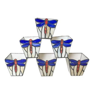 Stained Glass Dragonfly Tealight Holders, Set of 6