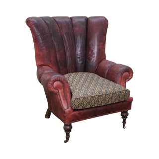 EJ Victor Carol Hicks Bolton Large Leather Fan Back Wing Chair