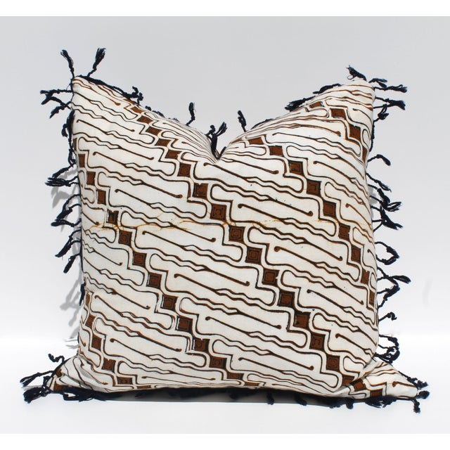 Vintage Batik Pillow with Fringe - Image 2 of 3