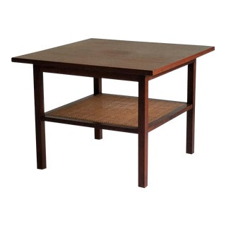 Mid-Century Walnut & Cane Side Table