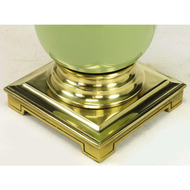 Image of Pair Stiffel Brass & Sage Porcelain Ostrich Egg Table Lamps