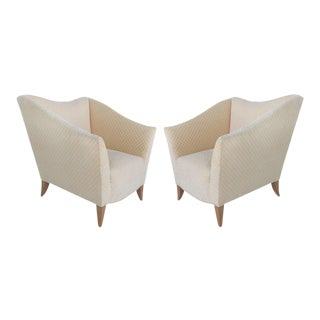 Sculptural Upholstered Club Chairs, Pair